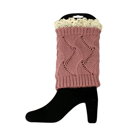 Knit Boot Cuff Topper Liner Leg Warmer With Lace Trim Lace Boot Topper