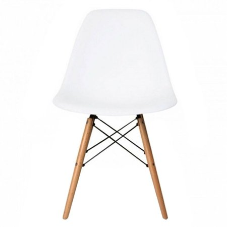 Mid Century Modern Eiffel Style Dining Chair With Wood Legs White