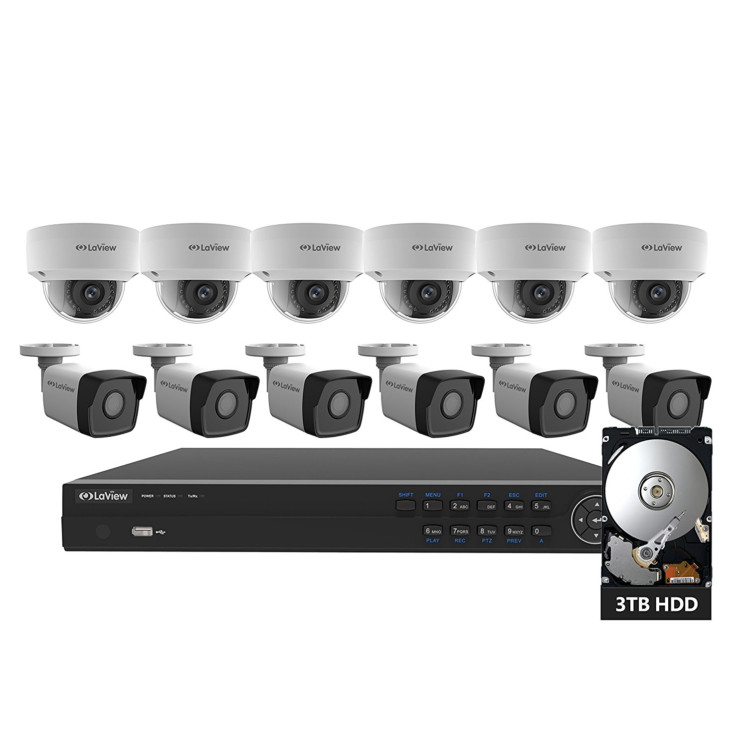 LaView 16 Channel PoE Home Security Camera System NVR 3TB HDD with Indoor and Outdoor Weatherproof HD 4MP Surveillance IP Cameras, 100ft IR Night Vision
