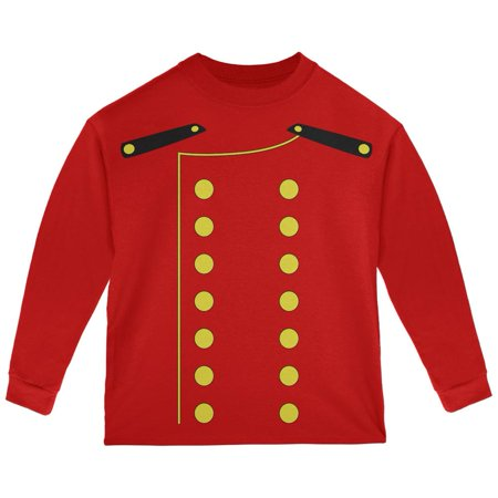 Halloween Hotel Bellhop Costume Red Toddler Long Sleeve T-Shirt (The W Hotel Boston Halloween)