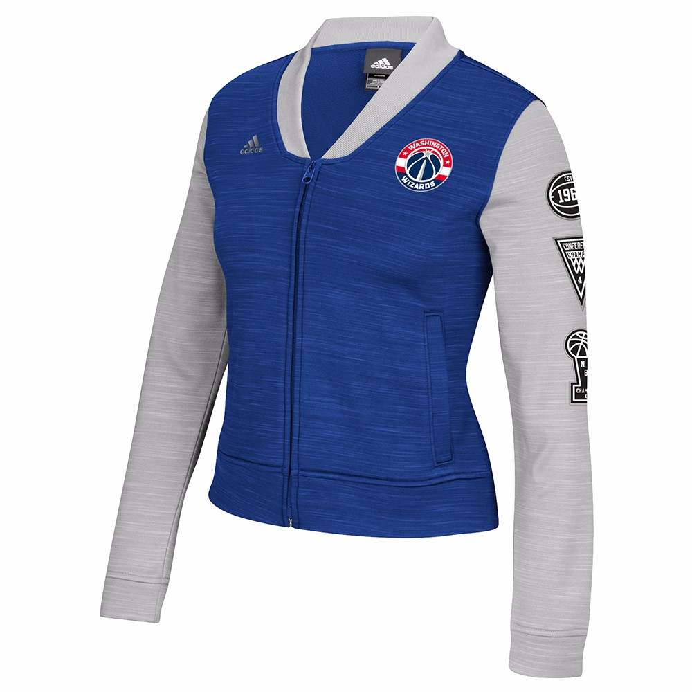 Washington Wizards NBA Adidas Blue On-Court Full Zip Track Jacket w  Patches Jacket For Women by Adidas