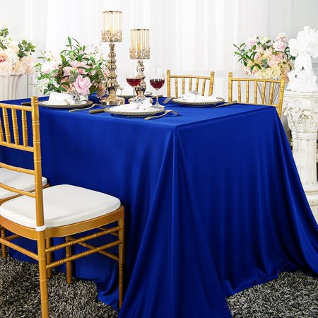 "Wedding Linens Inc. Wholesale Scuba Wrinkle Free 54"" x 96"" Rectangular Table Cover Tablecloth - Royal Blue"