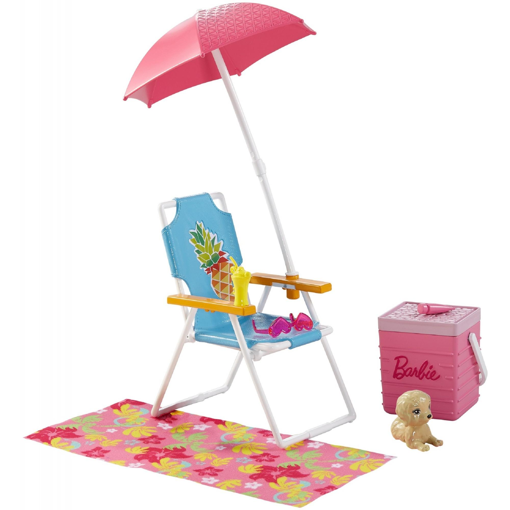 Barbie Picnic & Pet Set with Beach Chair, Umbrella & Cooler