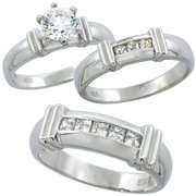 sterling silver cubic zirconia trio engagement wedding ring set for him and her 65 mm channel - Wedding Ring Trios