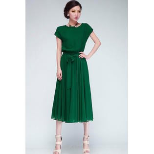 - Women Short Sleeves Big Swing Skirt Style Empire Dress Green