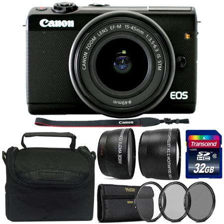 Canon EOS M100 Mirrorless Camera with EF-M 15-45mm f/3.5-6.3 IS STM Lens Black and 32GB Complete Accessory (Best Selling Mirrorless Camera)