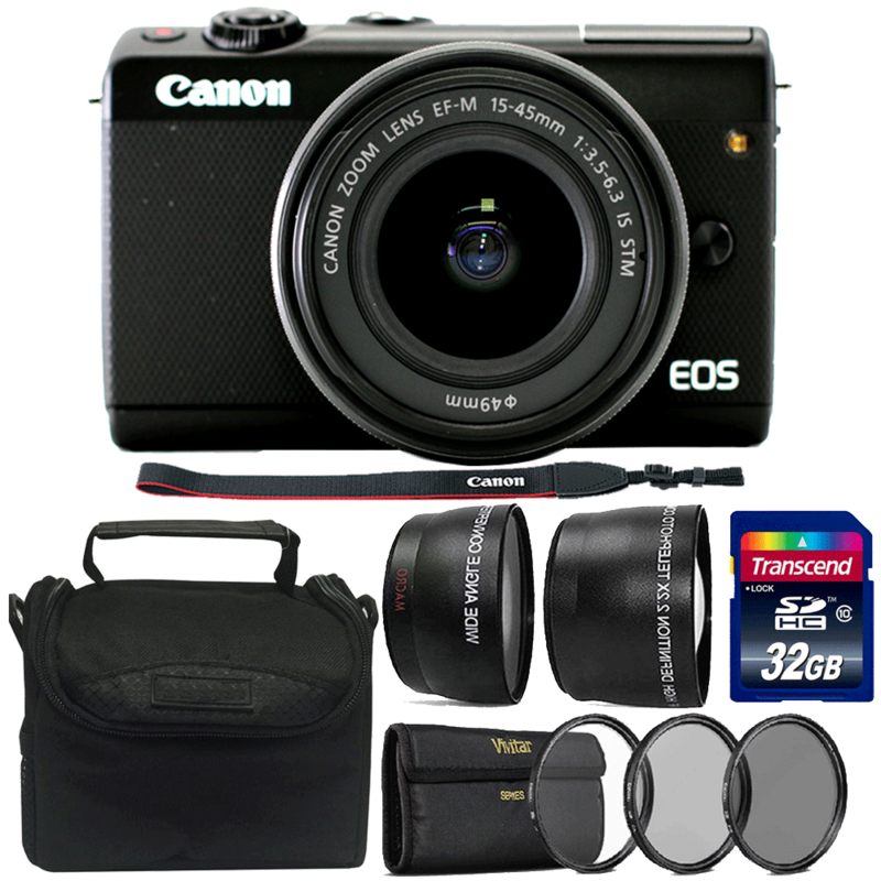 Canon EOS M100 Mirrorless Camera with EF-M 15-45mm f/3.5-6.3 IS STM Lens Black and 32GB Complete Accessory Kit
