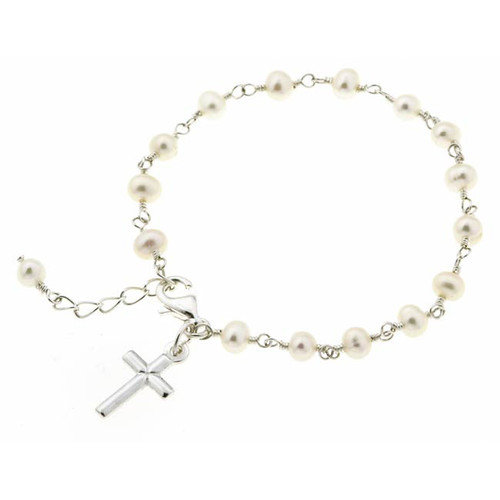 Sterling Essentials Sterling Silver Cultured Pearl Children's Cross Bracelet