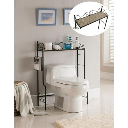 Black With Marble Top Metal Bathroom Free Standing Shelf & Storage ...