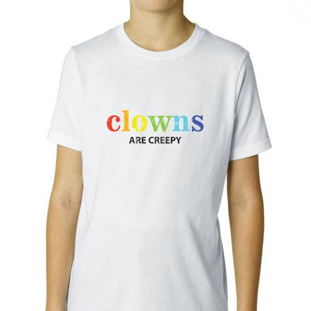 Clowns Are Creepy - Colorful Funny Boy's Cotton Youth T-Shirt - Funny And Creepy