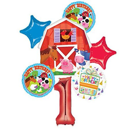 Farm Animal 1st Birthday Party Supplies and Barn Balloon Bouquet Decorations (Barn Party Supplies)