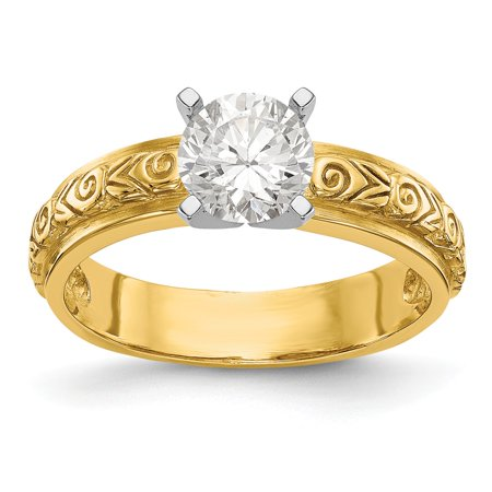 Gold Engagement Ring Mounting (14k Yellow Gold Solid Mounting Peg Set Engagement Ring Size 7 )