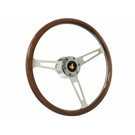 1973 - 1987 Buick Regal Grand National S6 Classic Wood Steering Wheel Chrome (1987 Buick Regal Grand National For Sale)
