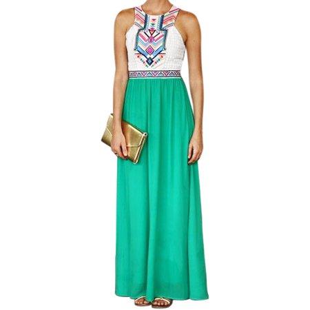 Ladies Apparel - Women Sleeveless Geometric Prints Paneled Maxi Dress Green M
