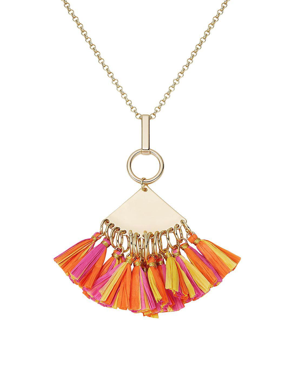 Extended Goldtone & Raffia Fringe Pendant Necklace