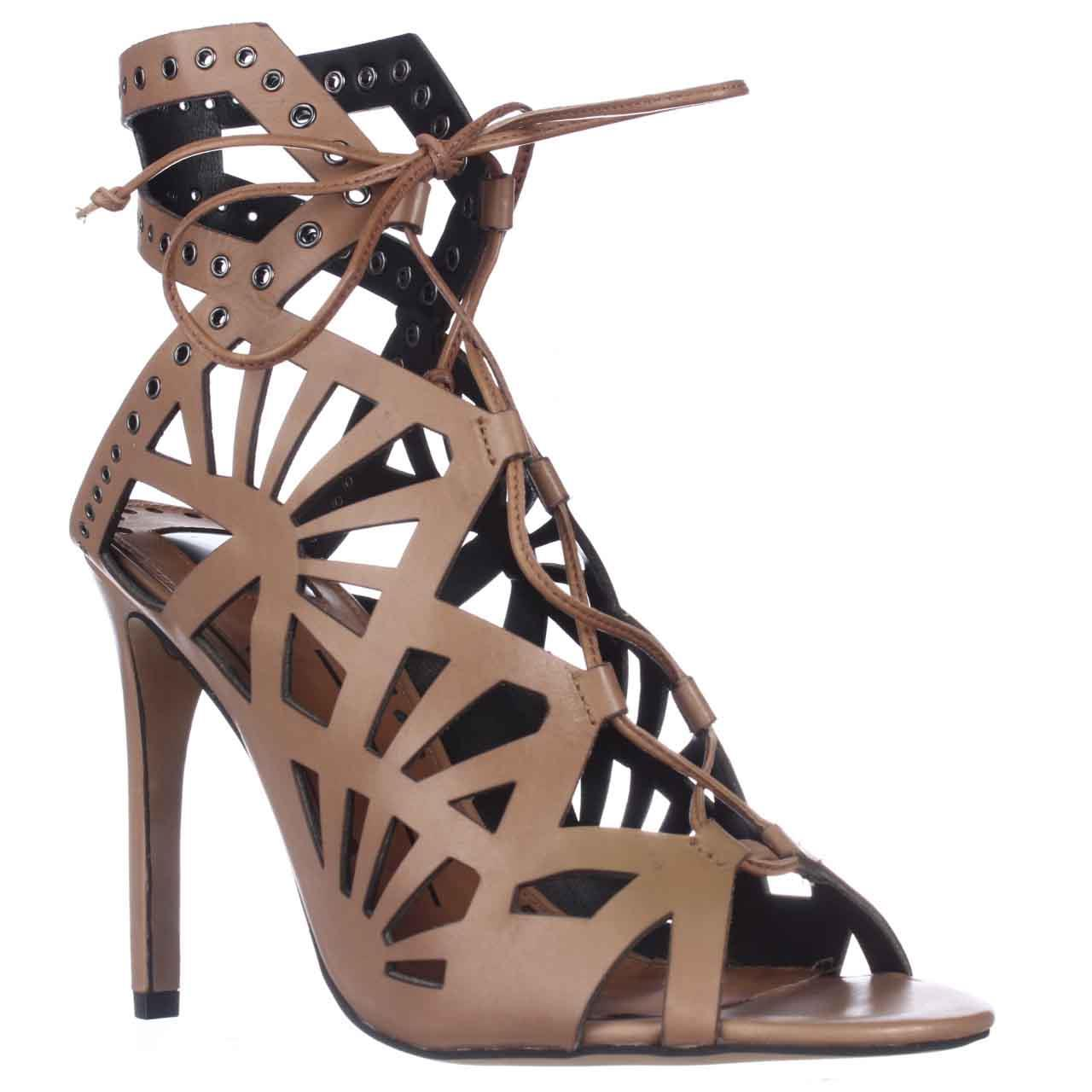 Womens Dolce Vita Helena Cut-Out Lace-Up Dress Sandals - Caramel Leather