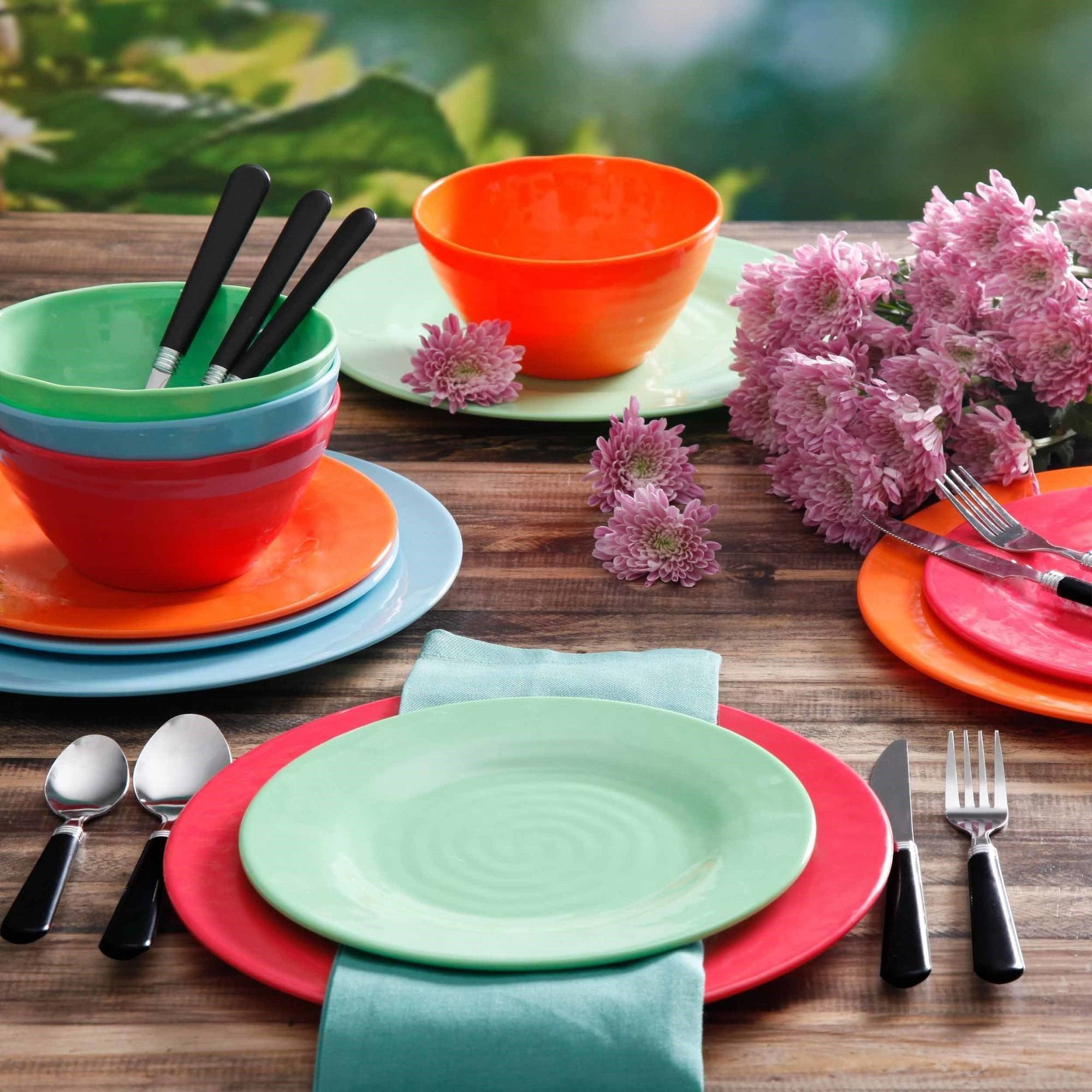 Gibson Home Brela 12-Piece Melamine Dinnerware Set & Outdoor Tableware u0026 Picnic - Walmart.com
