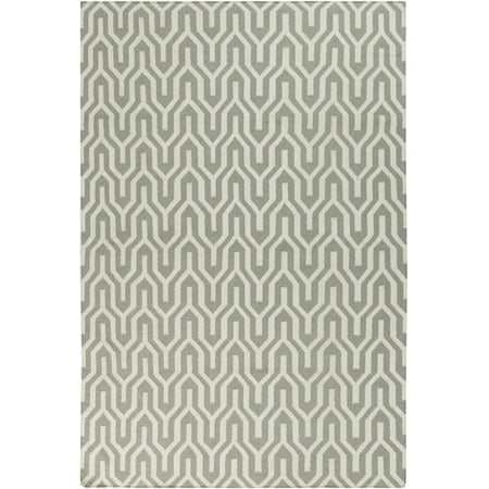 8' Krokev Dove Gray and White Hand Woven Round Wool Reversible Area Throw Rug 8' Round Wool Rug