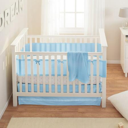 BreathableBaby Safer 3-Piece Crib Bedding Set, Blue Mist