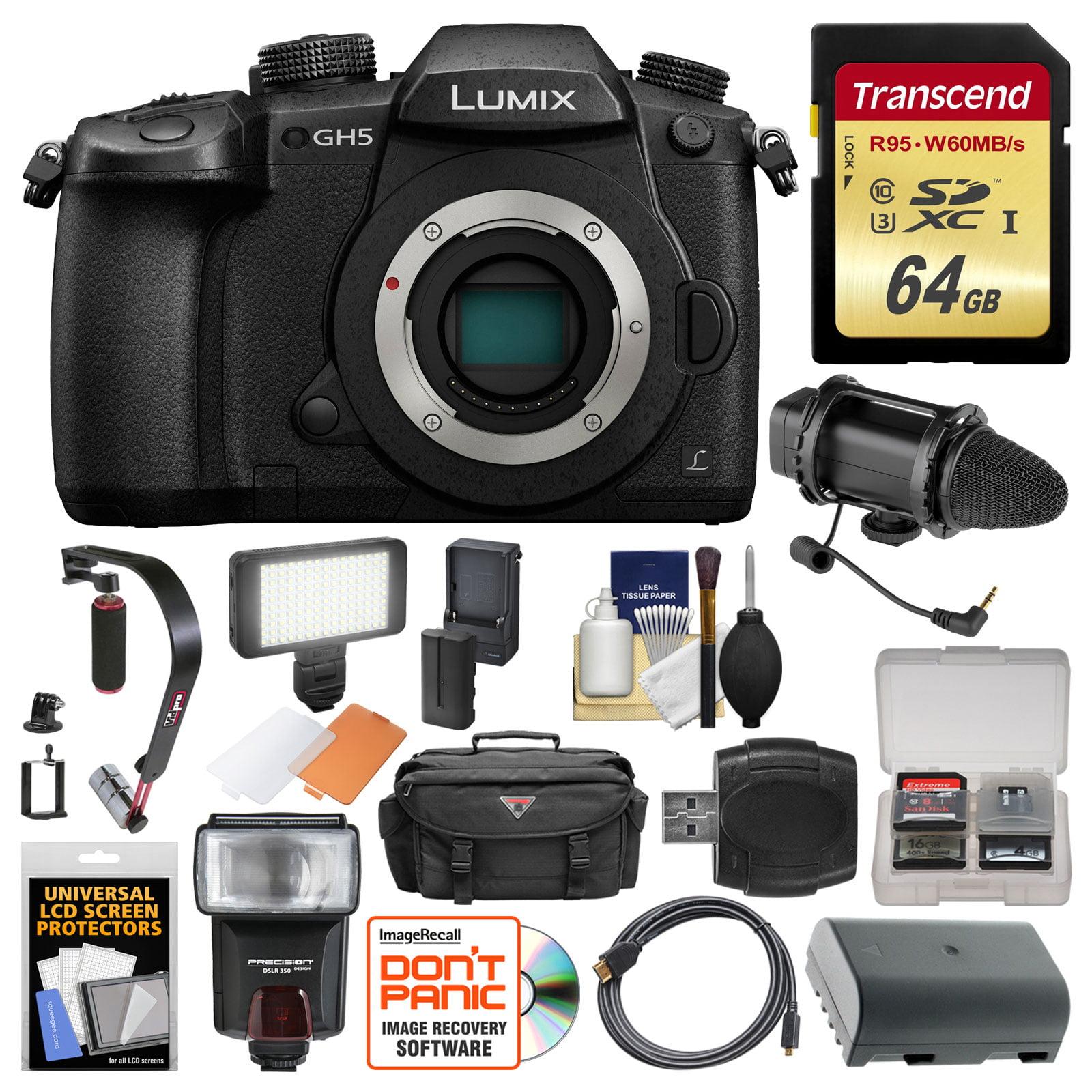Panasonic Lumix DC-GH5 Wi-Fi 4K Digital Camera Body with 64GB Card + Case + Flash + Battery + Mic + Video... by Panasonic