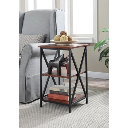 Convenience Concepts Tucson 3-Tier End Table Black Faux Leather Table