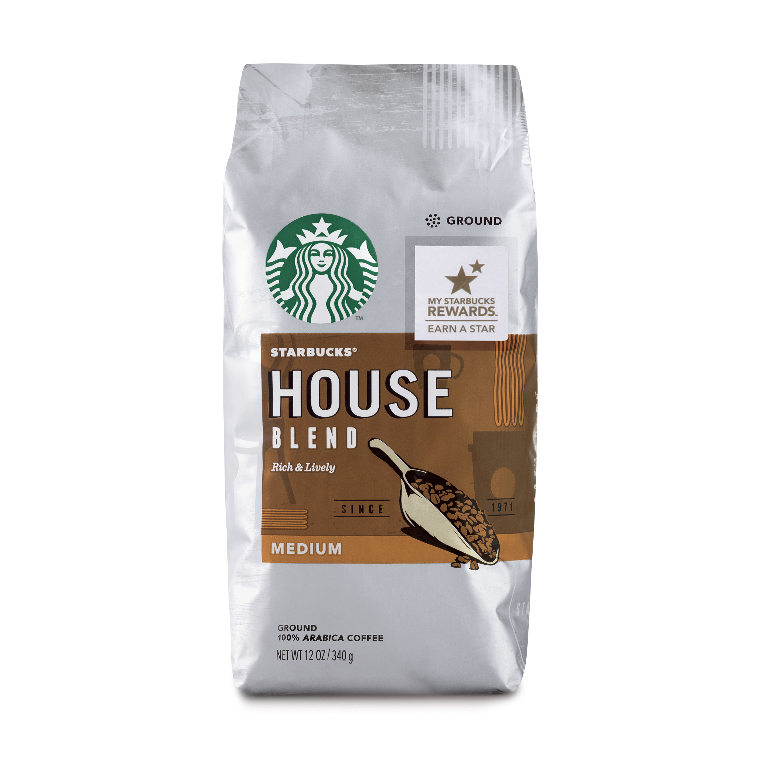 Starbucks House Blend Medium Roast Ground Coffee, 12-Ounce Bag