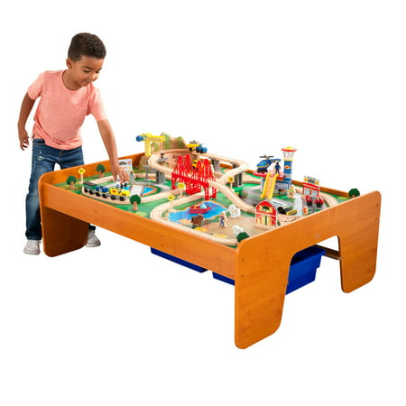 KidKraft Ride Around Town Train Set & Table with 100 accessories (Kidkraft Wooden Waterfall Mountain Train Table And Set)