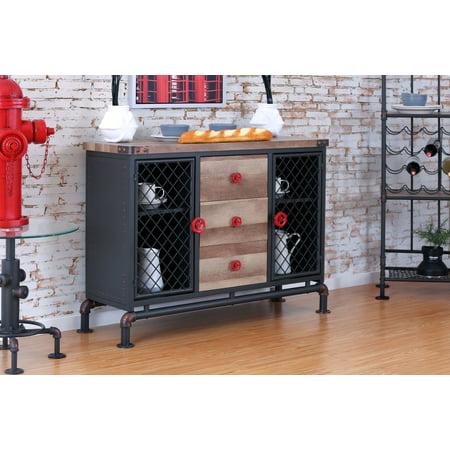 (Furniture of America Adeline Industrial Dining Server, Antique Black)