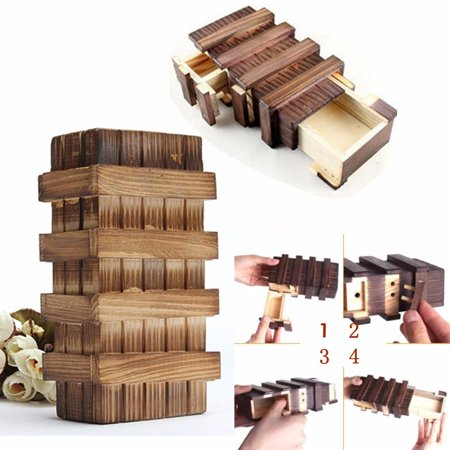 Meigar Magic Wooden Box with Extra Secure Secret Drawer, Trick Puzzle Games Brain Teaser - Mind Teaser Games