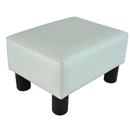 Modern Small Faux Leather Ottoman / Footrest Stool - White
