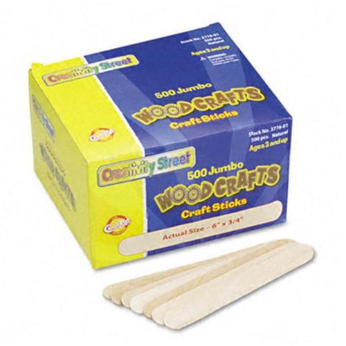 Chenille Kraft 3776-01 Natural Wood Craft Sticks- Jumbo Size- 6 x 3/4- Wood- Natural Wood- 500/Box