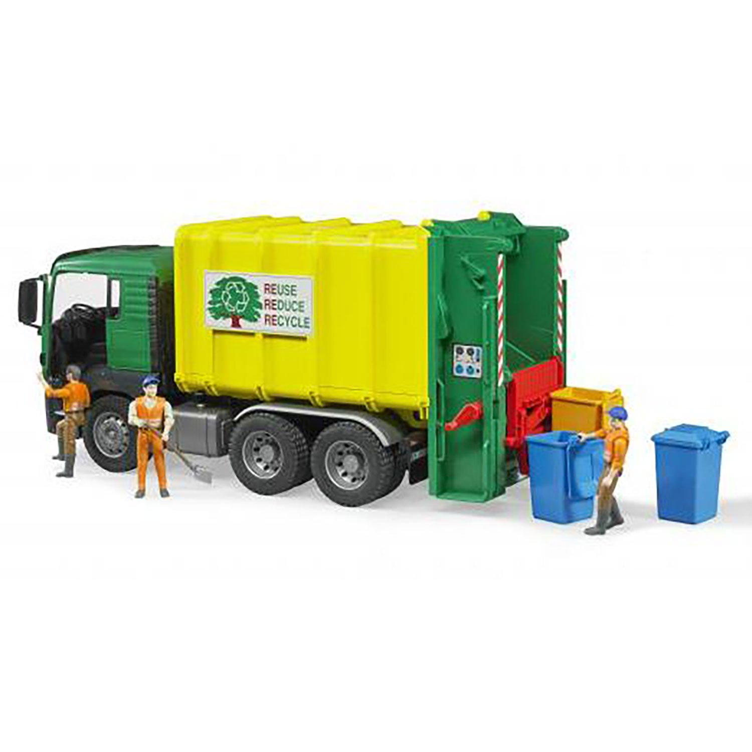 Bruder Toys MAN TGS Rear Loading Garbage Waste Toy Truck Vehicle 3 Refuse Bins