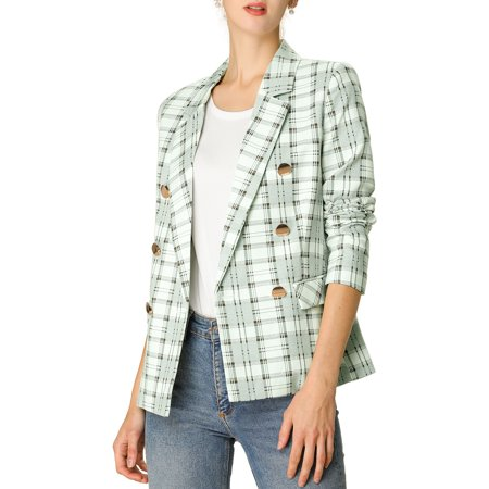 Women's Notched Lapel Blazer Double Breasted Plaid Jacket with Pockets XS (US 2) Green Breasted Check Jacket