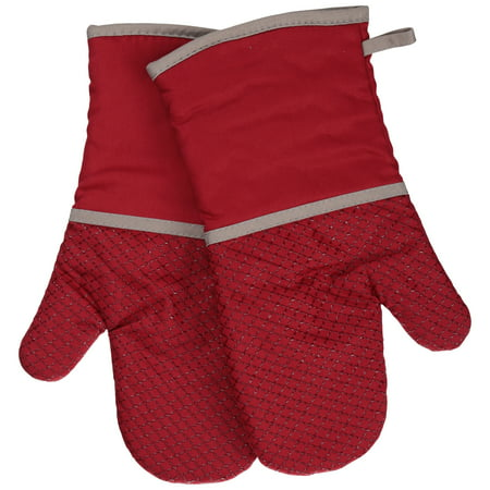 Discontinued - Last Chance Clearance! Better Homes & Gardens Red Silicone Printed Oven Mitts, Set of 2 (Chocolate Oven Mitt)