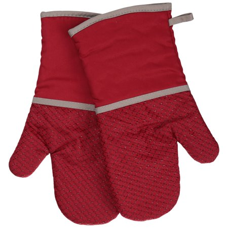 Discontinued - Last Chance Clearance! Better Homes & Gardens Red Silicone Printed Oven Mitts, Set of 2