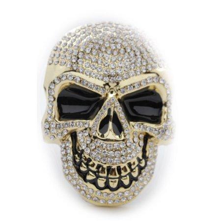 Gold Skull Belt (New Men Women Gold Metal Belt Buckle Silver Beads Skeleton Skull Halloween)