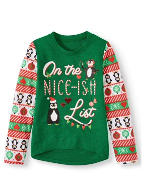 Holiday Time Girls Christmas Embellished Sweater (Little Girls, Big Girls & Plus)