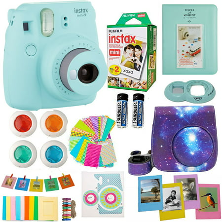 Fujifilm Instax Mini 9 Camera Ice Blue + Accessories kit for Fujifilm Instax Mini 9 Camera Includes; Instant camera + Fuji Instax Film (20 PK) + Sky Camera Case + Frames + Selfie lens + Album And More (Film Camera Lomography)