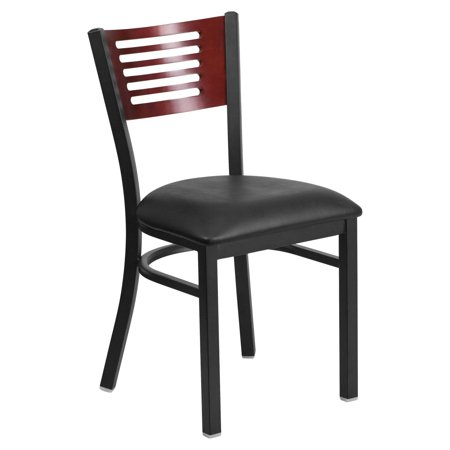 Restaurant Seating Commercial Metal (Flash Furniture HERCULES Series Black Decorative Slat Back Metal Restaurant Chair, Mahogany Wood Back, Vinyl Seat, Multiple Colors )
