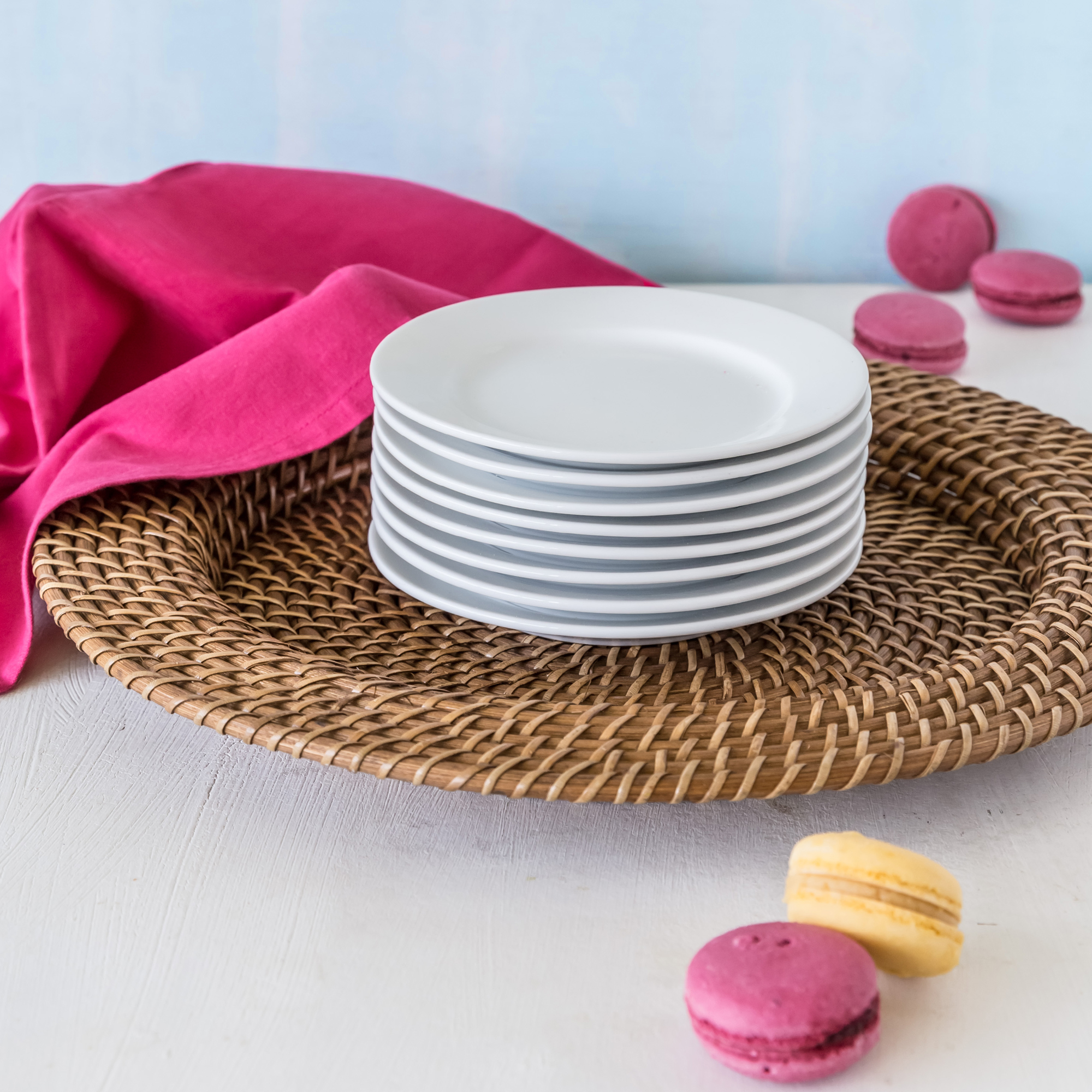 Better Homes and Gardens Round Appetizer Plates, White, Set of 8