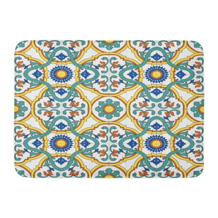 Dark Italian Antique (GODPOK Green Blue Ancient Pattern Traditional Motifs Southern Italy Ceramics Colorful Antique Yellow Rug Doormat Bath Mat 23.6x15.7 inch )