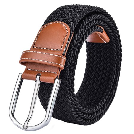 Unisex Belt, Coxeer Braided Elastic Stretch Belt with Faux Leather End and Metal Buckle for Men Women,Black