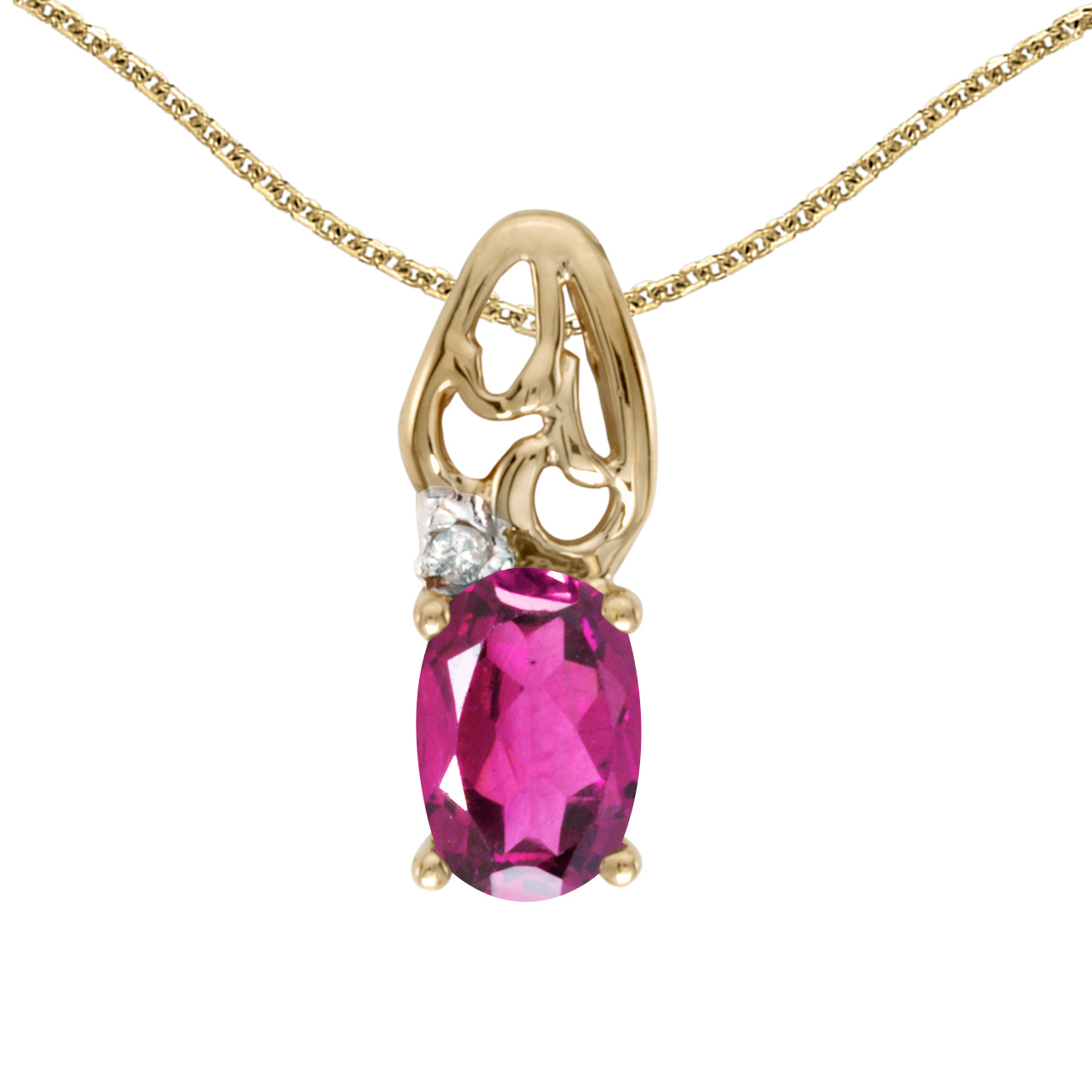 """14k Yellow Gold Oval Pink Topaz And Diamond Pendant with 18"""" Chain by"""