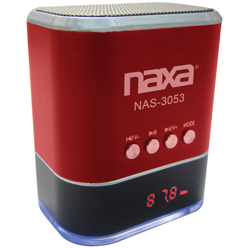 NAXA NAS3053RD Portable Speaker with USB FM Radio & LED Display (Red)
