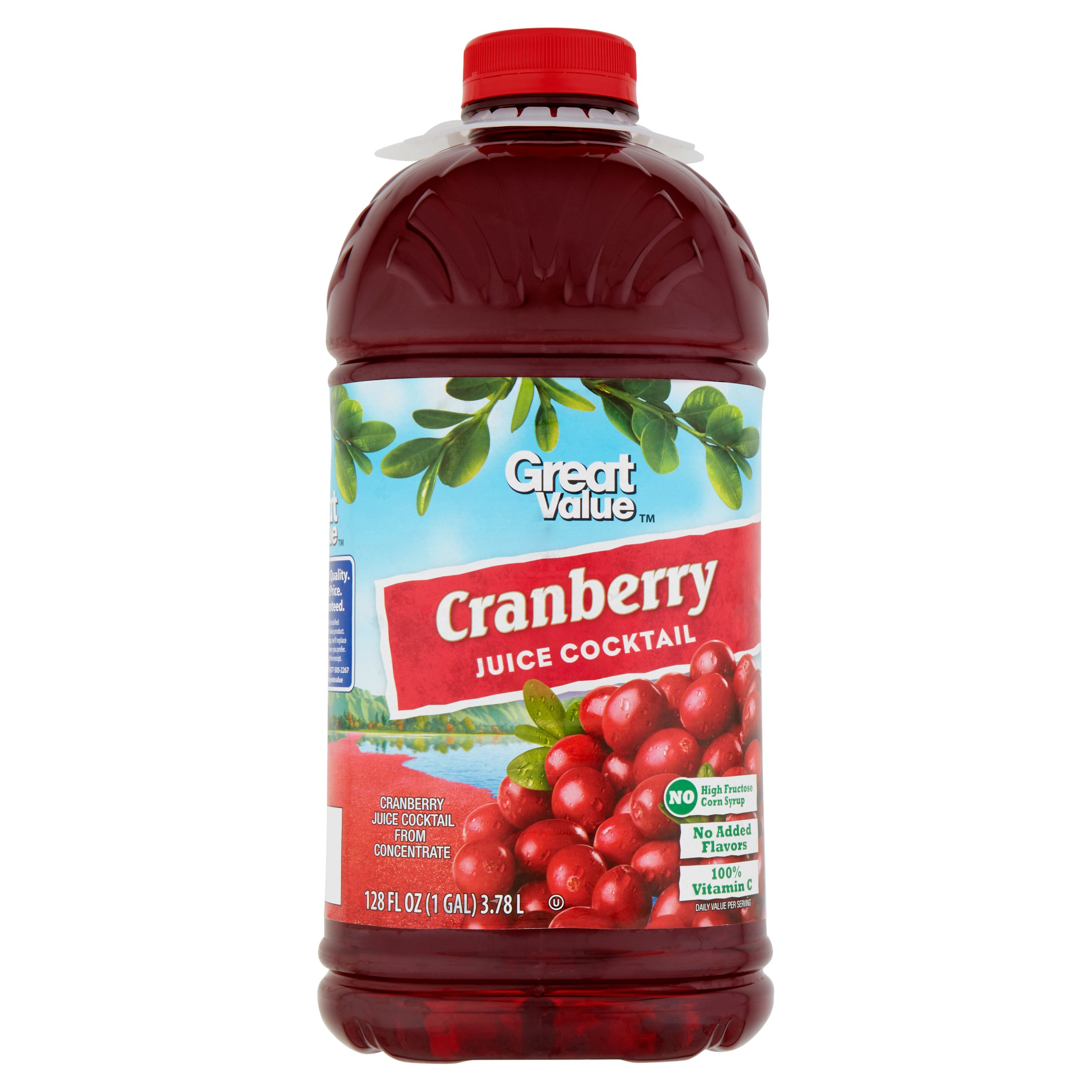 great value cranberry juice cocktail family size, 128 fl oz