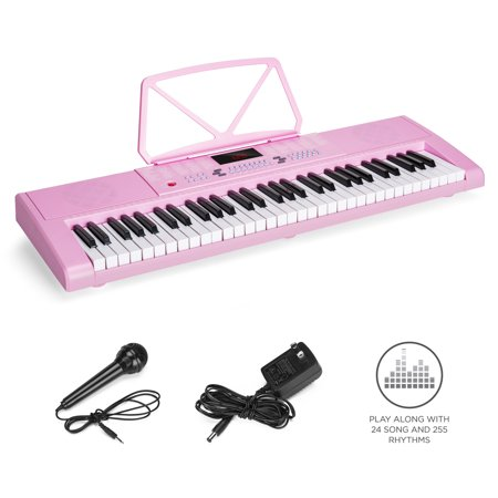 Best Choice Products 61-Key Portable Electronic/Electric Keyboard Piano Musical Instrument w/ LED Screen, Built-In Dual Speakers, Record & Playback Function, Microphone, Headphone Jack -