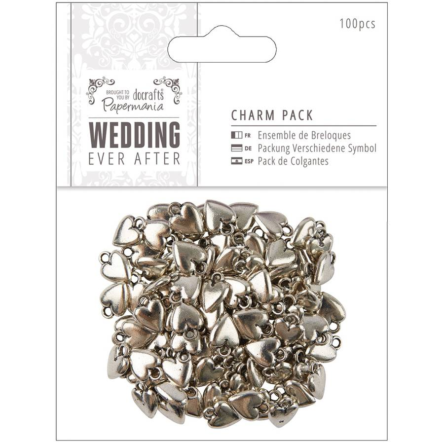 Papermania Ever After Wedding Charms, 100pk, Antique Silver Finish Hearts, 10mm x 15mm