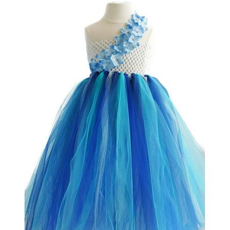 Efavormart Majestic Multicolored One Shoulder Blue Floral Tulle Flower Birthday Girl Dress Junior Flower Girl Wedding Party - One Shoulder Floor