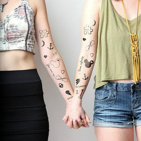 f58c1ea53225d Tattify Best Friends Temporary Tattoos - BFFE (Set of 18) - Walmart.com