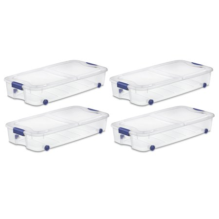 Sterilite, 66 Qt./62 L Ultra Storage Box, Stadium Blue, Case of 4